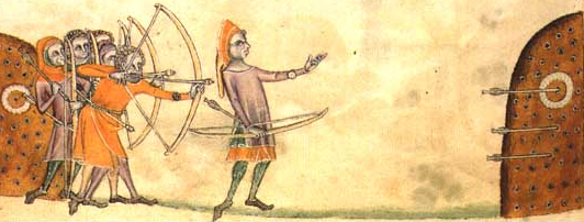 "Bogenschützen beim ""Shooting at the Butts"" im Luttrell Psalter, ca. 1320/30."