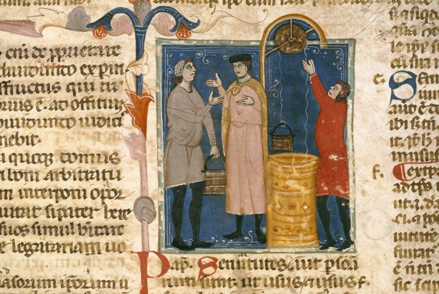 Wasserschöpfen aus einem Brunnen, 14. Jh. (Bodleian Library, MS Canon. Misc.493, fol. 153r.)