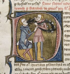 Ein Zahn wird gezogen, weitere sind zu Werbezwecken auf einem Band aufgereiht (ca. 1360-1375). London, BL Royal 6 E.VI, fol. 503v.