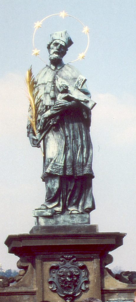 Die Johannes-Statue auf der Prager Karlsbrücke (1683). Foto: Jan H. Sachers, (c) HistoFakt
