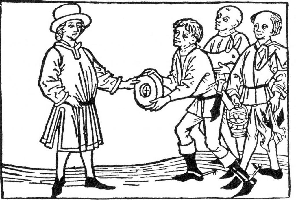 Hörige Bauern übergeben ihre Abgaben an den Meier oder Schultheiß. Holzschnitt, 15. Jh.