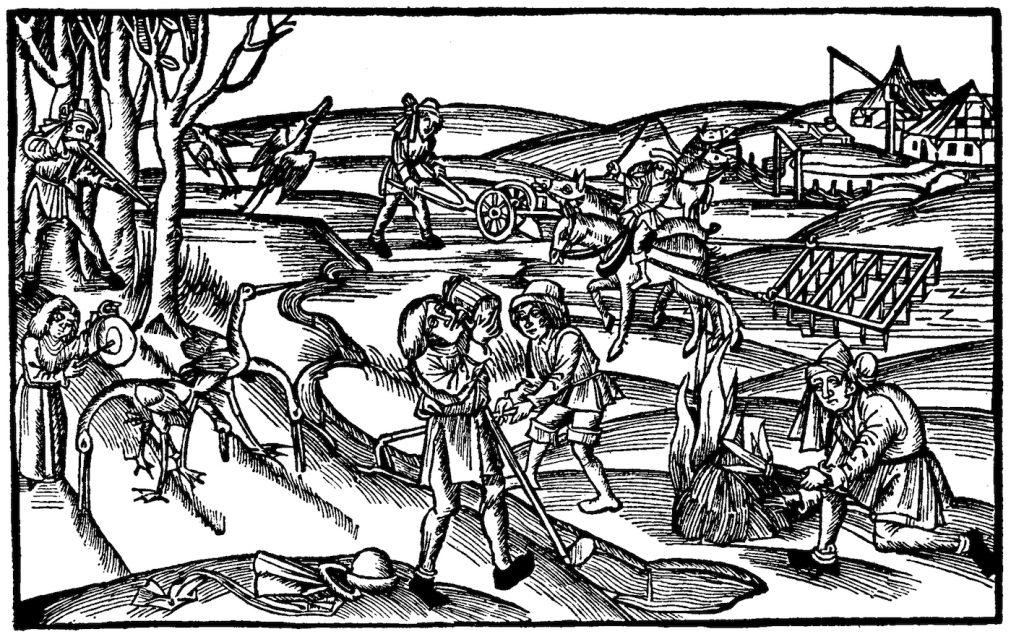 """""""Bauern"""" bei der Feldarbeit: Hörige oder freie, Hübner, Kötter, Breitner oder Hintersassen? Holzschnitt, 16. Jh."""
