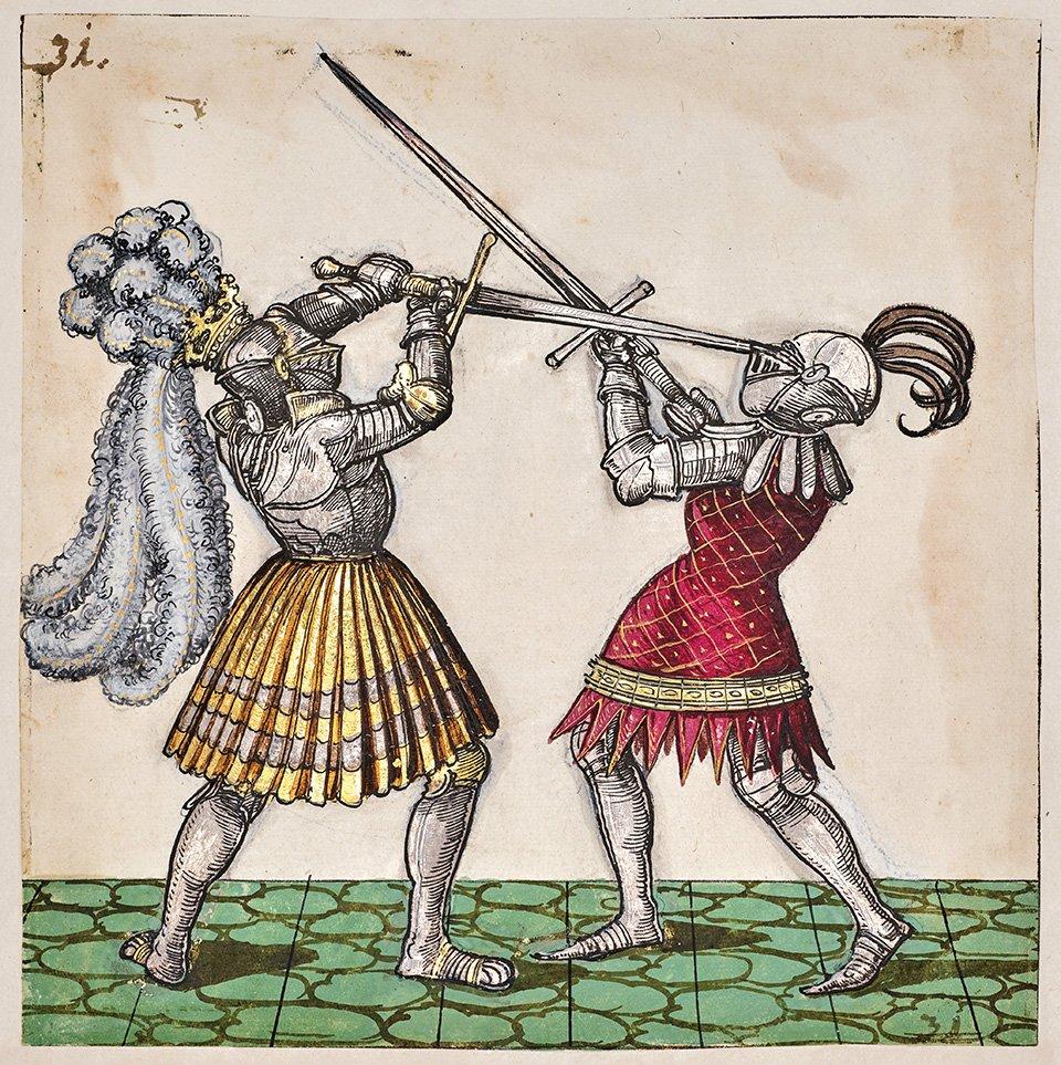 Fußkampf mit Langschwertern zwischen Freydal und Wilhelm Knöringen (fol. 31). © Kunsthistorisches Museum, Vienna