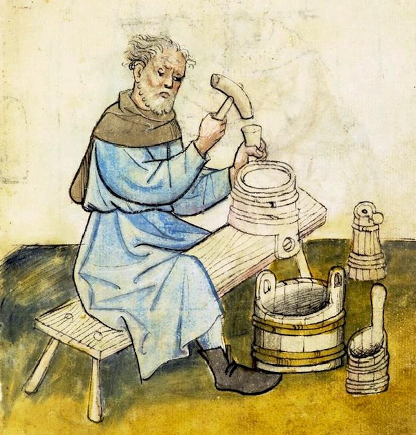 Kleinböttcher oder Simmermacher fertigten auch Behälter nach vorgeschriebenen Maße. Hausbuch der Mendelschen Zwölfbrüderstiftung, fol. 25r, Stadtbibliothek Nürnberg.