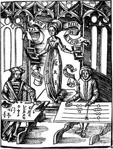 Das Rechnen mit Reitpfennigen (rechts) und arabischen Zahlen. (Aus: Gregor Reisch, Margarita Philosophica, Freiburg 1508.)