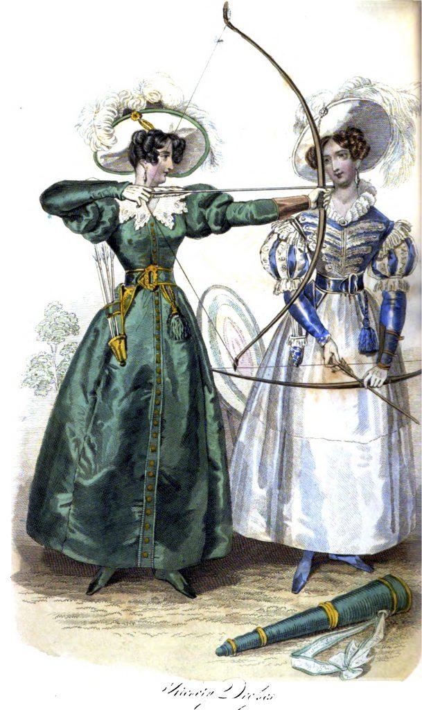 "Zwei ""Archery Dresses"" für die elegante Bogenschützin in ""La Belle Assemblée"" XIV/81 (1831), Tafel 2."