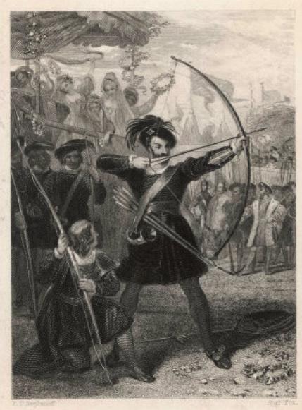 Der englische König Henry VIII. beim Clout-Schießen (1520).