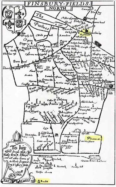 """Diese Karte des Bogensportgeländes Finsbury Fields in London von 1594 zeigt mehr als 190 """"marks""""."""