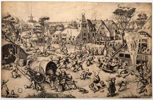 Pieter Brueghel der Ältere: Der Jahrmarkt zum St. Georgs-Tag. Hinten links wird auf den Vogel geschossen.