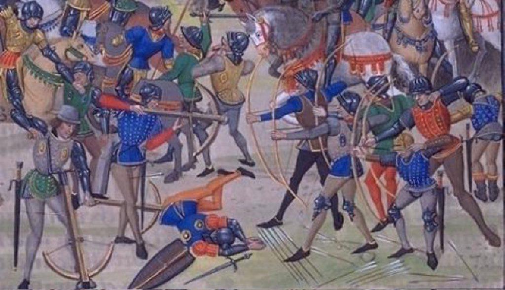 Bogenschützen in der Schlacht von Crécy. Wenig realistische Darstellung aus dem 15. Jahrhundert.