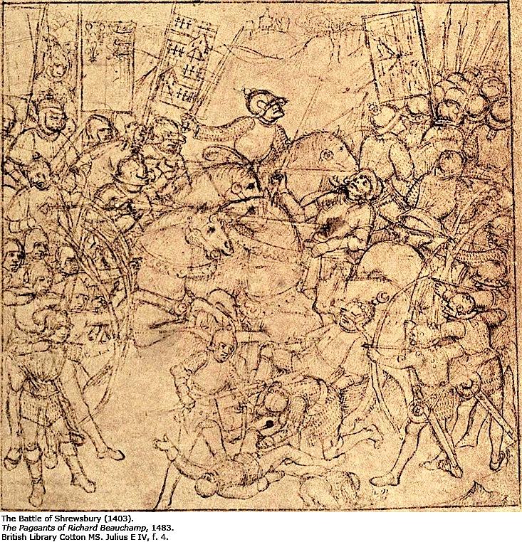 Beauchamnp Pageants. London, British Library, Cotton Julius E IV, art. 6, fol. 4: Schlacht von Shrewsbury 1403.
