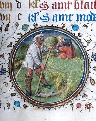 Heumahd mit der Sense. Miniatur aus einem Psalter des 15. Jahrhunderts.