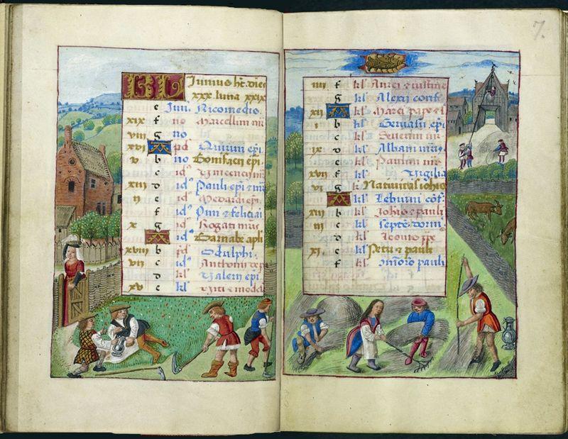 Heumahd im Juni. Stundenbuch der Johanna von Kastilien (Brügge, ca. 1496-1506). London, British LIbrary, MS Add. 18852, fol. 6v-7r.