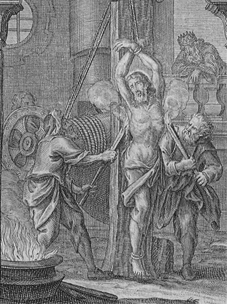 Der Kupferstich von Andreas Pfeffel diente als Vorlage für den Rietberger Bildstock. [Quelle: Bohuslav Balbin, Vita sancti Joannis Nepomuceni Sigilli Sacramentalis Protomartyris..., Augsburg 1730.]