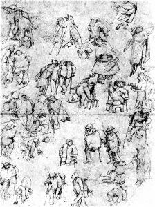 Bettler, Skizze von Hieronymus Bosch.