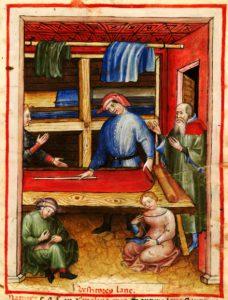 Schneider in einer Handschrift des Tacuinum Sanitatis, um 1390-1400 (Paris, BNF NAL 1673).
