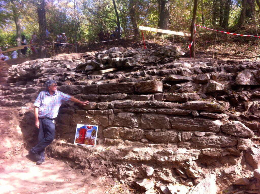 Archäologe mit Mauer im Wald.