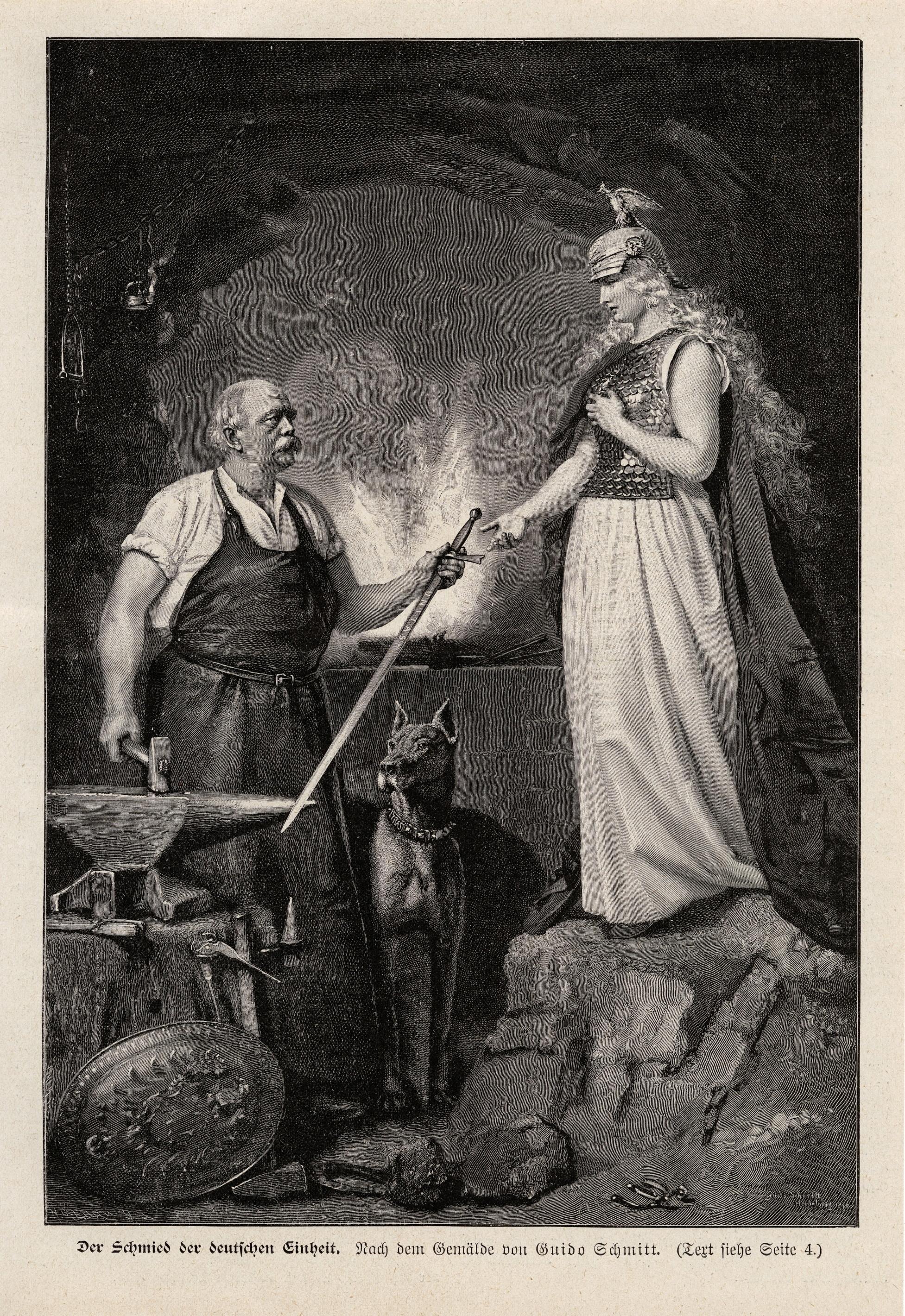 """""""Bismarck, Schmied der deutschen Einheit, überreicht Germania das Reichsschwert"""", spätes 19. Jh. (c) Landesmuseum Württemberg, Stuttgart, Bildarchiv"""