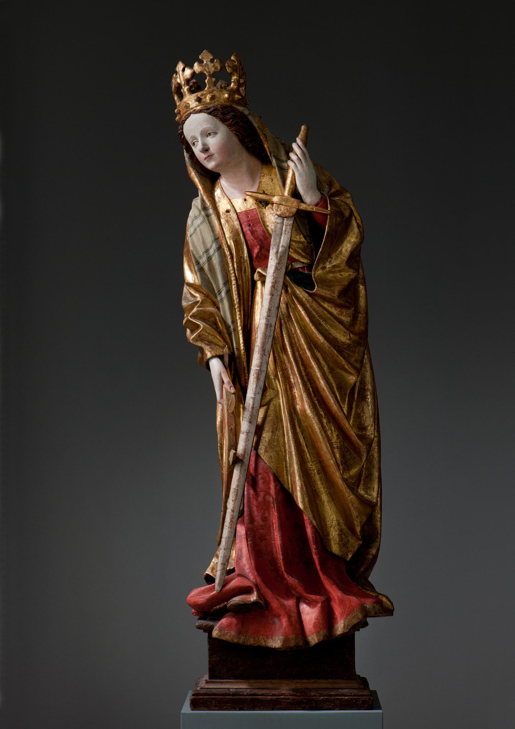 Skulptur der hl. Katharina von Alexandrien, um 1450. (c) Landesmuseum Württemberg, Stuttgart. Foto: Hendrik Zwietasch
