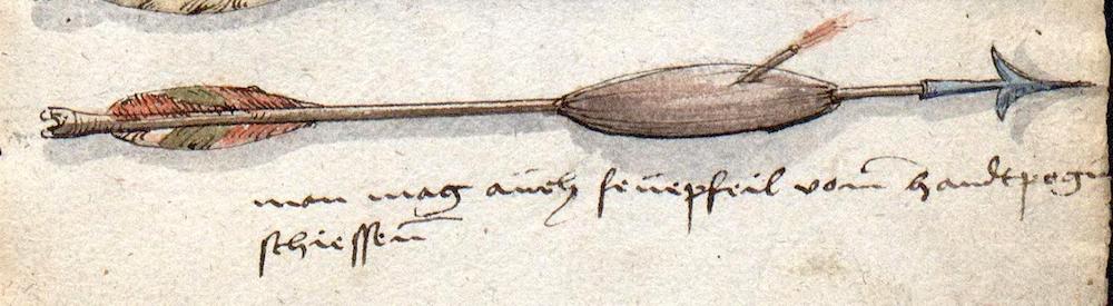 "Brandpfeil in der sog. ""Löffelholz-Handschrift"", 1505. (Krakau, Biblioteka Jagiellońska Ms. Berol. Germ. Qu. 132.)"