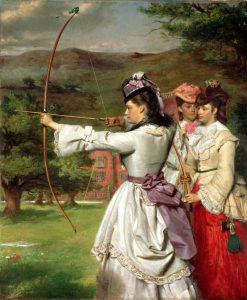 """""""The Fair Toxophilites"""", Gemälde von William Powell Frith (1872), Royal Albert Memorial Museum."""